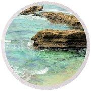 La Jolla Beach Rocks Round Beach Towel