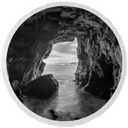 La Jolla Cave Bw Round Beach Towel by Michael Ver Sprill