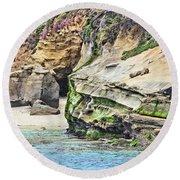 La Jolla Cliffs Round Beach Towel