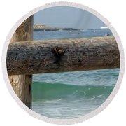 Round Beach Towel featuring the photograph La Jolla Scene by Susan Garren