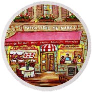La Patisserie De Nancy French Pastry Boulangerie Paris Style Sidewalk Cafe Paintings Cityscene Art C Round Beach Towel