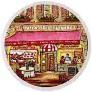 La Patisserie De Nancy French Pastry Boulangerie Paris Style Sidewalk Cafe Paintings Cityscene Art C Round Beach Towel