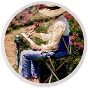 Round Beach Towel featuring the photograph La Peintre by Chris Lord