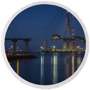 La Pepa Bridge Cadiz Spain Round Beach Towel