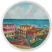 La Perla San Juan Pr Round Beach Towel by Frank Hunter