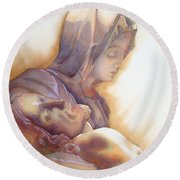 La Pieta By Michelangelo Round Beach Towel