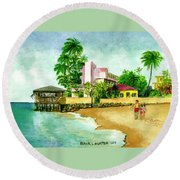 La Playa Hotel Isla Verde Puerto Rico Round Beach Towel by Frank Hunter