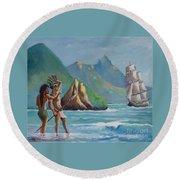 La Rencontre De Deux Mondes Round Beach Towel