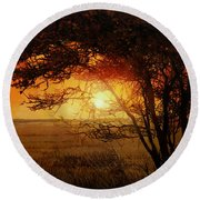 La Savana Al Tramonto Round Beach Towel by Guido Borelli