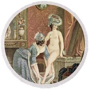 La Toilette Engraving By Louis Marin Round Beach Towel