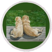 Labrador Lazy Afternoon Round Beach Towel