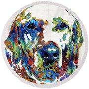 Labrador Retriever Art - Play With Me - By Sharon Cummings Round Beach Towel