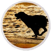 Labrador Silhouette Round Beach Towel by Eleanor Abramson