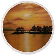 Lac La Biche  Sunset Round Beach Towel