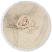 Lace And Promises Round Beach Towel by Kim Hojnacki