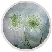Round Beach Towel featuring the photograph Lace Caps by Louise Kumpf