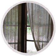 Round Beach Towel featuring the photograph Lace Window Covering. by Jocelyn Friis