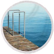 Round Beach Towel featuring the photograph Ladder by Chevy Fleet