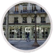 Laderee On The Champs De Elysees In Paris France  Round Beach Towel
