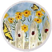 Round Beach Towel featuring the painting Ladies In The Garden by Angela Davies