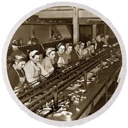 Ladies Packing Sardines In One Pound Oval Cans In One Of The Over 20 Cannery's Circa 1948 Round Beach Towel