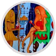Round Beach Towel featuring the painting Lady And Her Maid by Don Pedro De Gracia