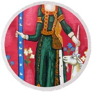 Lady And The Unicorn La Pointe Round Beach Towel