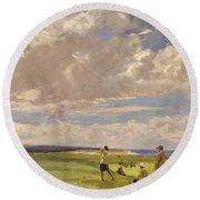 Lady Astor Playing Golf At North Berwick Round Beach Towel by Sir John Lavery