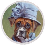 Lady Boxer With Blue Hat Round Beach Towel