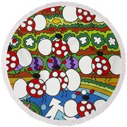 Lady Bugs Round Beach Towel
