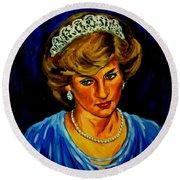Lady Diana Portrait Round Beach Towel