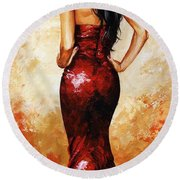 Lady In Red 035 Round Beach Towel
