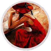 Lady In Red 21 Round Beach Towel by Emerico Imre Toth