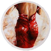 Lady In Red #24 Large  Round Beach Towel by Emerico Imre Toth