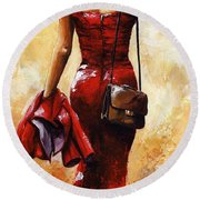 Lady In Red #25 Round Beach Towel by Emerico Imre Toth