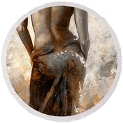 Lady In Red #27 Digital Colored Rust Round Beach Towel