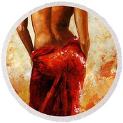 Lady In Red 27 Round Beach Towel by Emerico Imre Toth