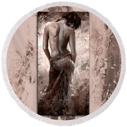 Lady In Red 27 Style Mistyrose Round Beach Towel