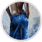 Lady In Red 27re Blue Color Version Large Round Beach Towel