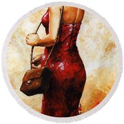 Lady In Red  30 Round Beach Towel by Emerico Imre Toth