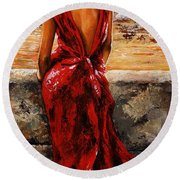 Lady In Red  34 -  I Love Budapest Round Beach Towel