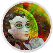 Round Beach Towel featuring the mixed media Lady In Red by Ally  White