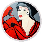 Lady In Red  Art Deco Round Beach Towel