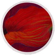 Round Beach Towel featuring the painting Lady In Red by Sandi Whetzel