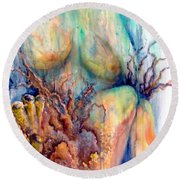 Lady In The Reef Round Beach Towel