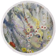 Round Beach Towel featuring the painting Lady In The Waterfall by Avonelle Kelsey
