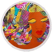 Round Beach Towel featuring the tapestry - textile Lady J by Apanaki Temitayo M