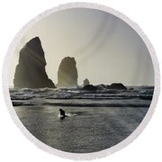 Lady Jessica Of The Great Northwest Round Beach Towel by Susan Molnar