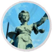 Lady Justice Pop Art Round Beach Towel