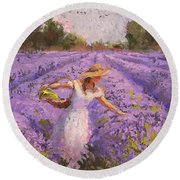 Woman Picking Lavender In A Field In A White Dress - Lady Lavender - Plein Air Painting Round Beach Towel